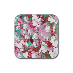 Confetti Hearts Digital Love Heart Background Pattern Rubber Coaster (square)  by Nexatart