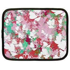 Confetti Hearts Digital Love Heart Background Pattern Netbook Case (large)