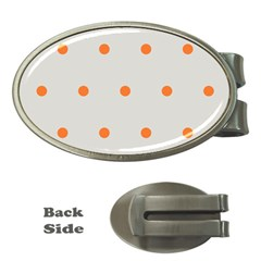 Diamond Polka Dot Grey Orange Circle Spot Money Clips (oval)  by Mariart