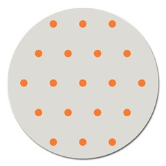 Diamond Polka Dot Grey Orange Circle Spot Magnet 5  (round) by Mariart