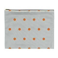 Diamond Polka Dot Grey Orange Circle Spot Cosmetic Bag (xl) by Mariart