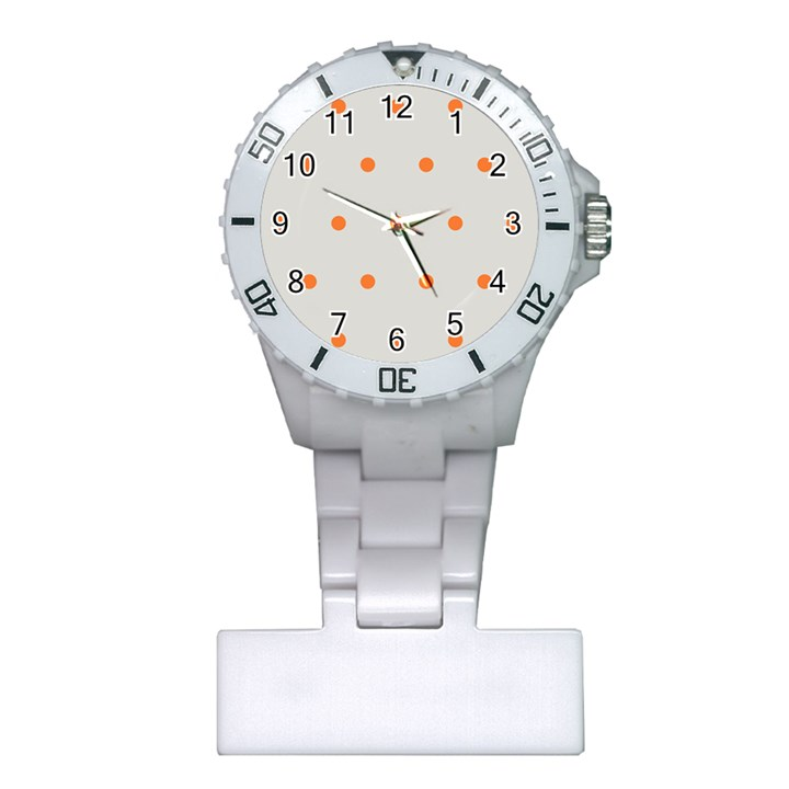 Diamond Polka Dot Grey Orange Circle Spot Plastic Nurses Watch