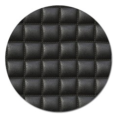 Black Cell Leather Retro Car Seat Textures Magnet 5  (round)