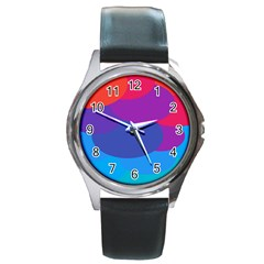 Circles Colorful Balloon Circle Purple Blue Red Orange Round Metal Watch by Mariart