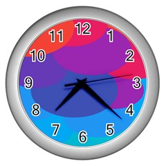 Circles Colorful Balloon Circle Purple Blue Red Orange Wall Clocks (silver)  by Mariart