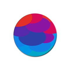 Circles Colorful Balloon Circle Purple Blue Red Orange Rubber Round Coaster (4 Pack)