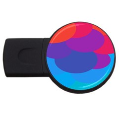 Circles Colorful Balloon Circle Purple Blue Red Orange Usb Flash Drive Round (2 Gb) by Mariart
