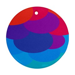Circles Colorful Balloon Circle Purple Blue Red Orange Round Ornament (two Sides) by Mariart