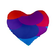 Circles Colorful Balloon Circle Purple Blue Red Orange Standard 16  Premium Heart Shape Cushions by Mariart