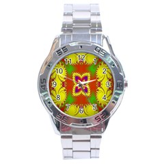 Digital Color Ornament Stainless Steel Analogue Watch by Nexatart