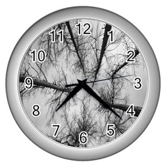 Trees Without Leaves Wall Clocks (silver)  by Nexatart