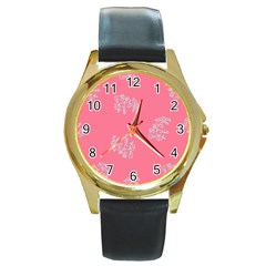 Branch Berries Seamless Red Grey Pink Round Gold Metal Watch by Mariart