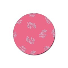 Branch Berries Seamless Red Grey Pink Rubber Round Coaster (4 Pack)