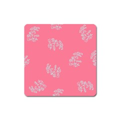 Branch Berries Seamless Red Grey Pink Square Magnet by Mariart