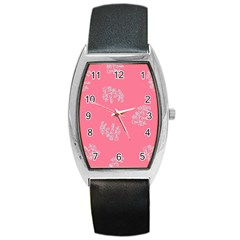 Branch Berries Seamless Red Grey Pink Barrel Style Metal Watch by Mariart
