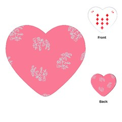 Branch Berries Seamless Red Grey Pink Playing Cards (heart)  by Mariart