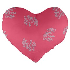 Branch Berries Seamless Red Grey Pink Large 19  Premium Heart Shape Cushions by Mariart