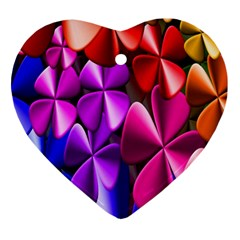 Colorful Flower Floral Rainbow Ornament (heart) by Mariart