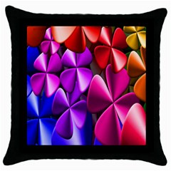 Colorful Flower Floral Rainbow Throw Pillow Case (black) by Mariart