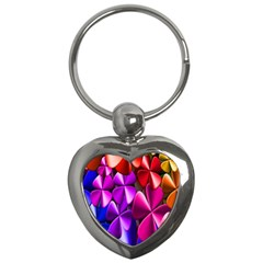 Colorful Flower Floral Rainbow Key Chains (heart)  by Mariart