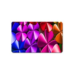 Colorful Flower Floral Rainbow Magnet (name Card) by Mariart
