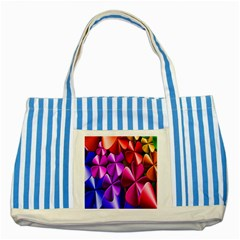 Colorful Flower Floral Rainbow Striped Blue Tote Bag by Mariart