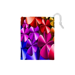 Colorful Flower Floral Rainbow Drawstring Pouches (small)  by Mariart
