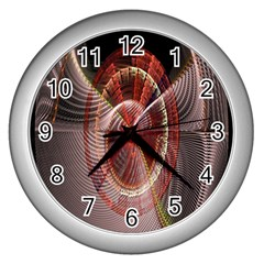 Fractal Fabric Ball Isolated On Black Background Wall Clocks (silver)  by Nexatart
