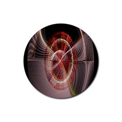Fractal Fabric Ball Isolated On Black Background Rubber Coaster (round)