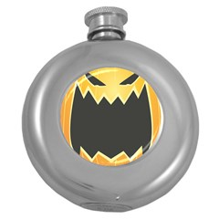 Halloween Pumpkin Orange Mask Face Sinister Eye Black Round Hip Flask (5 Oz) by Mariart