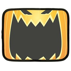 Halloween Pumpkin Orange Mask Face Sinister Eye Black Netbook Case (large) by Mariart