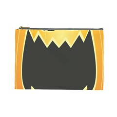 Halloween Pumpkin Orange Mask Face Sinister Eye Black Cosmetic Bag (large)  by Mariart
