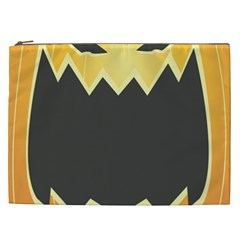 Halloween Pumpkin Orange Mask Face Sinister Eye Black Cosmetic Bag (xxl)  by Mariart
