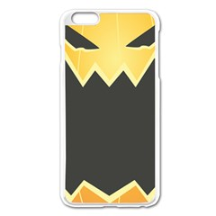 Halloween Pumpkin Orange Mask Face Sinister Eye Black Apple Iphone 6 Plus/6s Plus Enamel White Case by Mariart