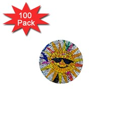 Sun From Mosaic Background 1  Mini Magnets (100 Pack)  by Nexatart