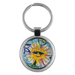 Sun From Mosaic Background Key Chains (round)  by Nexatart