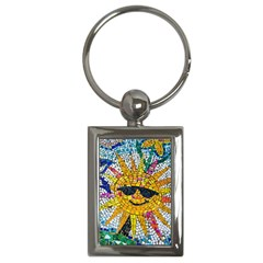 Sun From Mosaic Background Key Chains (rectangle)  by Nexatart