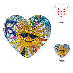 Sun From Mosaic Background Playing Cards (heart)  by Nexatart