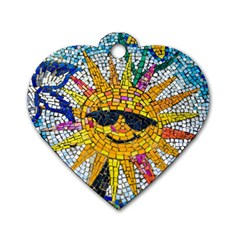 Sun From Mosaic Background Dog Tag Heart (two Sides) by Nexatart