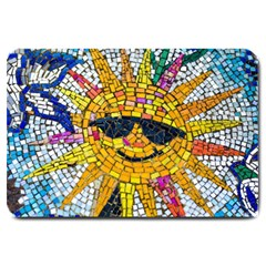 Sun From Mosaic Background Large Doormat  by Nexatart