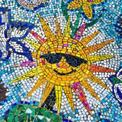 Sun From Mosaic Background Magic Photo Cubes by Nexatart