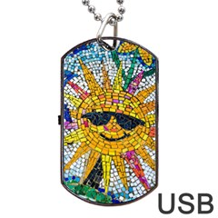 Sun From Mosaic Background Dog Tag Usb Flash (one Side) by Nexatart