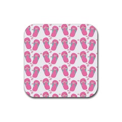 Flip Flops Flower Star Sakura Pink Rubber Square Coaster (4 Pack)  by Mariart