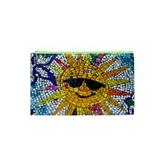 Sun From Mosaic Background Cosmetic Bag (xs) by Nexatart