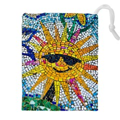 Sun From Mosaic Background Drawstring Pouches (xxl) by Nexatart