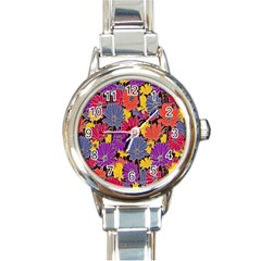 Colorful Floral Pattern Background Round Italian Charm Watch by Nexatart