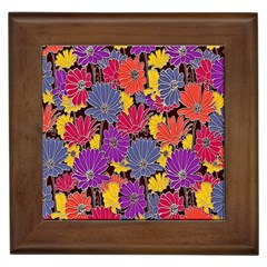 Colorful Floral Pattern Background Framed Tiles by Nexatart