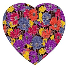 Colorful Floral Pattern Background Jigsaw Puzzle (heart) by Nexatart