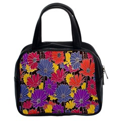 Colorful Floral Pattern Background Classic Handbags (2 Sides)