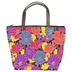 Colorful Floral Pattern Background Bucket Bags by Nexatart